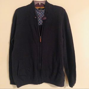 Ted Baker London Zippered Navy Sweater Cardigan